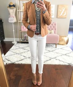 petite gingham shirt, toothpick white ankle jeans, camel schoolboy blazer, Steve Madden Claara Block Heel Sandals, fall outfit, casual outfit, white jeans outfit, business casual outfit, petite fashion - click the photo for outfit details!