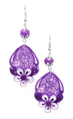 SUSAN QUILLING: Purple and White Earring