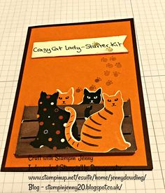 Stampin' Jenny: Stampin'Up! Crazy Cat Lady - Starter Kit Card Cat punch. Weekend Blog