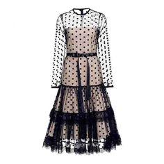 Polka Dot mesh see-through midi dress