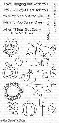 "MFT STAMPS: Fall Friends (4"" x 8.5"" Clear Photopolymer Stamp Set) This package includes Fall Friends, a 17 piece set including: - Scarecrow 2"" x 3"", Fox 1 7/8"" x 1 13/16"" - Owl 1 1/8"" x 1 1/4"" - Sunfl"