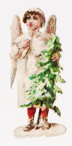 1 Sehr alte Oblate um 1880 - Weihnachtsengel - 6 cm, Reliëf