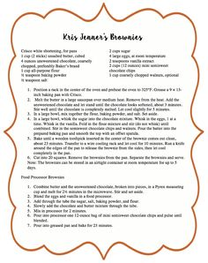 """Kris Jenner's Brownies Recipe from """"In the Kitchen with Kris"""""""