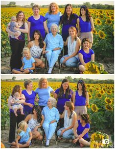 family photos in sunflower field