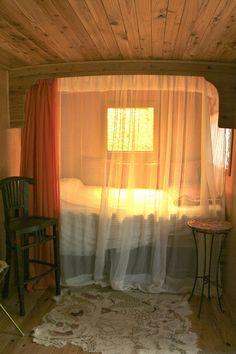 Gypsy Living Traveling In Style.  Wagon Interior.  Romantic.  Kerkeri, New Zealand