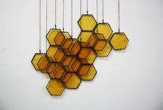 Stained Glass Honeycomb Drops set of 10 by BespokeGlassTile, $105.00
