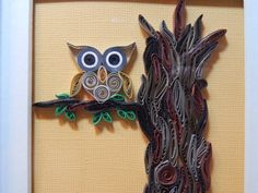 Owl in a Tree handmade quilling owl by HunnyBug on Etsy, $22.00
