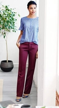 Pair our wine colored menswear inspired trouser with a blue and white striped woven shirt and heels for a timeless chic office ready look Blue Striped Shirt Outfit, Blue And White Striped Shirt, Office Outfits, Mode Outfits, Fashion Looks, Work Fashion, Wine Pants, Burgundy Pants, Fashion Models
