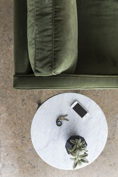 Our Brooklyn marble side table in white looks elegant beside our Ethel sofa in green velvet. Marble Furniture, Furniture Design, Black Marble, Marble Top, Green Velvet, Kiosk, Affordable Fashion, Simple Designs, Brooklyn