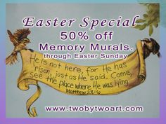 Celebrate Jesus' Resurrection. 50% off Memory Murals. Give the gift of treasuring God's Word.