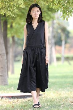 Long Linen Dress in black C277 by YL1dress on Etsy