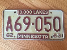 Classic 1960's Minnesota License Plate by SarahsVintageDecor