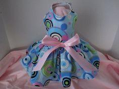 Dog Dress  XS Blue with fun circles   By Nina's by afrodytka1224, $20.00