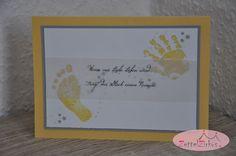 Stampin' Up! beim ZettelZirkus: Gückwünsche zur Geburt, Hand und Fuß, Babyglück, Sterne,