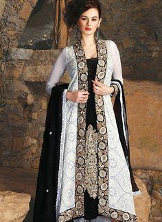 Ravishing Black, White Salwar Kameez