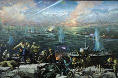 Soviet sailors storming German positions across a river