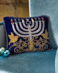 Shop Menorah Pillow from Sudha Pennathur at Horchow, where you'll find new lower shipping on hundreds of home furnishings and gifts. Hanukkah Crafts, Jewish Crafts, Hanukkah Menorah, Christmas Hanukkah, Hannukah, Jewish Art, Jewish Hanukkah, Jewish Food, Cultura Judaica