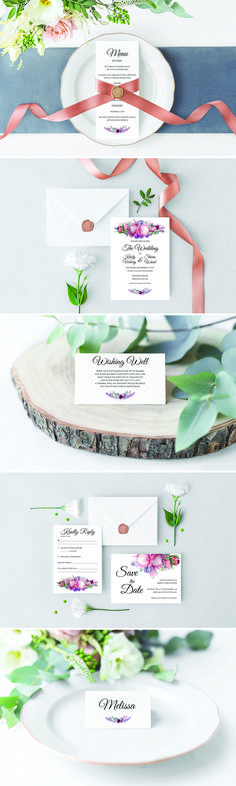 Our 'Native Florals' Wedding Package is the perfect design for a boho/rustic/beach wedding! Shown is our RSVP Card, Save the Date card, Wedding Invitation, Wishing Well Card, Place Card and Menu, which are all available at www.melissafaydesigns.com.au. Based in Byron Bay, Melissa Fay Designs specialises in Wedding Stationery with a Watercolour and Floral twist.