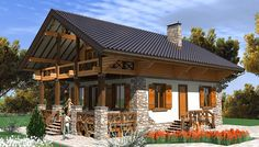 "Проект дома в стиле шале ""C144-5 Пересветик"" площадью 138.1 кв.м. - «Строй Экспресс» Chalet Design, Cabins In The Woods, House In The Woods, Cabin Homes, Log Homes, Filipino House, House Outside Design, Rustic House Plans, Colorado Homes"