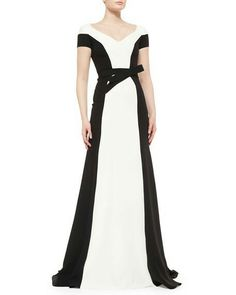Carolina Herrera - Contrast Belted Tuxedo Gown
