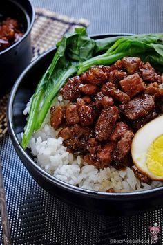Lu Rou Fan (Braised Pork Rice) 滷肉飯 - Bear Naked Food Can I do something similar with b Rice Recipes, Pork Recipes, Mexican Food Recipes, Cooking Recipes, Hawaiian Recipes, Taiwanese Cuisine, Taiwanese Recipe, Taiwan Food, Pork Dishes