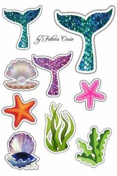 Mermaid Theme Birthday, Little Mermaid Birthday, Little Mermaid Parties, Baby Birthday, Little Mermaid Cakes, The Little Mermaid, Printable Stickers, Planner Stickers, Anniversaire Wonder Woman