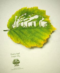 Every leaf traps CO2 - Plant for the Planet - Donate trees on www.plant-for-the-planet.org (Factory leaf ad)