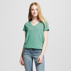 Women's Relaxed V-Neck T-Shirt - Mossimo Supply Co. Green Triblend XS