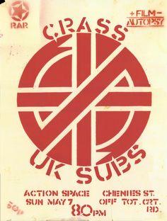 Crass, UK Subs punk show flyer Music Flyer, Concert Flyer, Concert Posters, Rock Posters, Band Posters, Music Posters, Event Posters, New Wave, Punk Rock
