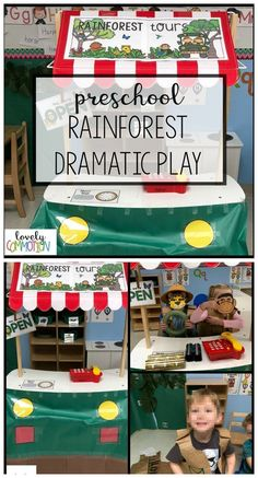 Here is a fun preschool dramatic play center idea: Create a Rainforest Tours area in your Dramatic Play center. Children can drive the jeep through the rainforest while looking for animals with their binoculars. Once, an animal is found they mark it off their list.