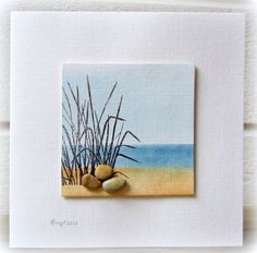 "3.5"" X 3.5"" small watercolored and stamped card with flat pebble embellishment. Rapport från ett skrivbord"