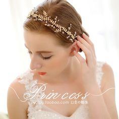 歐式簡約水晶發帶 手工新娘飾品韓式新娘發飾結婚飾品發飾