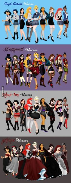 Disney Princesses - HS, Steampunk, Punk & Goth