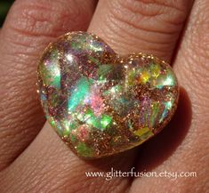 Gold Opal Resin Heart Statement Ring, Golden Iridescent Opalescent Heart Ring, Glitter Fusion Faux Opal Party Favor Ring, Unisex Jewelry