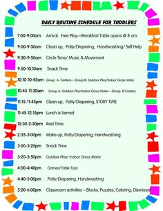 daily schedule in preschool Daily Schedule for Toddlers.it's hard for me to keep a schedule.Daily Schedule for Toddlers.it's hard for me to keep a schedule. Home Daycare Schedule, Daily Schedule Preschool, Daily Schedule Template, Toddler Schedule, Preschool At Home, Weekly Schedule, Toddler Routine, Daily Schedules, Daily Routines