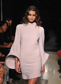 Taylor Marie Hill for Brandon Maxwell - Spring Vogue 2016, Taylor Marie Hill, Curvy, Bell Sleeve Top, White Dress, High Neck Dress, Beautiful, Model, Clothes