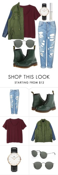 """Untitled #11"" by tateaiyanna ❤ liked on Polyvore featuring Topshop, Dr. Martens, Monki, StyleNanda, Daniel Wellington, Ray-Ban and Lord & Berry"
