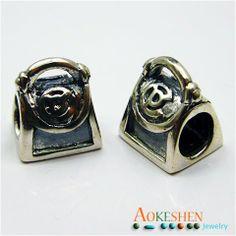 Sterling Silver Handbag European Style Beads Fit Bracelet DIY Jewelry Making