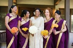 Purple bridesmaids sarees