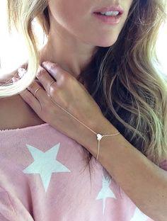 Super Sweet Finger Bracelet Heart Charm Hand Chain by TatiRocks, $42.00