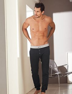 Supima® Cotton Vintage Style Button Long Pants | M&S - David Gandy for Autograph