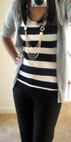 Business casual work outfit: grey cardigan, white and black striped top, black slacks. I'd wear with black heels or oxfords.