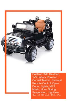 Costzon Ride On Jeep, 12V Battery Powered Car w/2 Motors, Parental Remote Control, Open Doors, Lights, MP3, Music, Horn, Spring Suspension, High/Low Speed, Electric Ride On Truck for Kids (Black) Power Cars, Horns, Jeep, Remote, Parenting, Trucks, Lights, Kids, Young Children