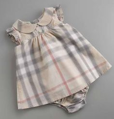 Baby Girl's Cotton Check Dress with Matching Bloomers