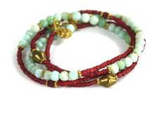 SALE. Runcible.  Convertible Anklet, bracelet, necklace Peruvian opal, ruby and 24k vermeil Exotic beaded necklace in gold, blue and fuschia