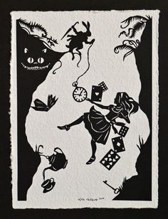 Vente 20 % de réduction / / ALICE IN WONDERLAND Papercut - Down the Rabbit Hole - taillés à la main Silhouette / / Coupon Code SALE20