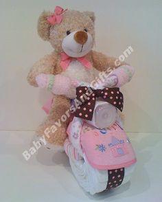 Pink Bear on Bike Diaper Cake http://babyfavorsandgifts.com/pink-bear-on-bike-diaper-cake-p-113.html