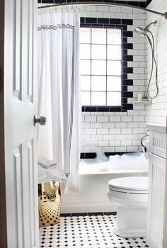 Black & White Tile | Window in Shower | Garden Stool in Small Bathroom…