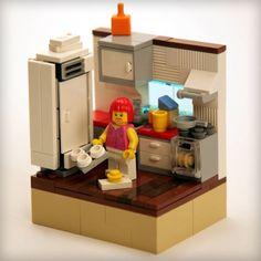 kitchen Lego Jokes, Lego Camper, Lego Kitchen, Kitchen Vignettes, Lego Furniture, Lego Building Blocks, Lego Room, Cool Lego Creations, Lego Design
