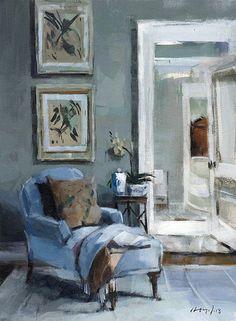 SIGNÉ TIRAGE DART « Chaise bleue avec Vase et fleurs » Il sagit dune reproduction de qualité dune peinture originale de David Lloyd. Imprimées